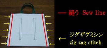 布端の縫い位置と、ジグザグミシンの位置