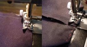 ミシンで内布を縫う