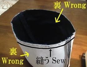 外袋と中袋を縫い合わせる