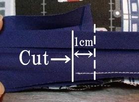 縫い終わりはテープを重ねる