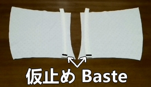 baste the outer fabrics and cords