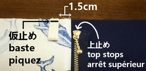 baste the outer fabric and tab