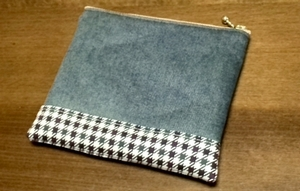 zippered pouch with denim and checkered