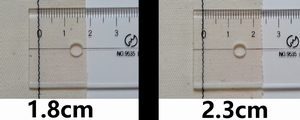 seam allowance of 1.8cm and 2.3cm
